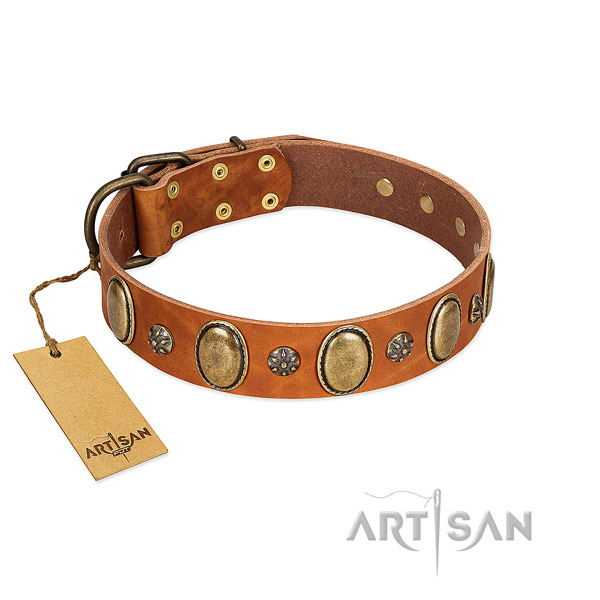Easy wearing best quality genuine leather dog collar with decorations