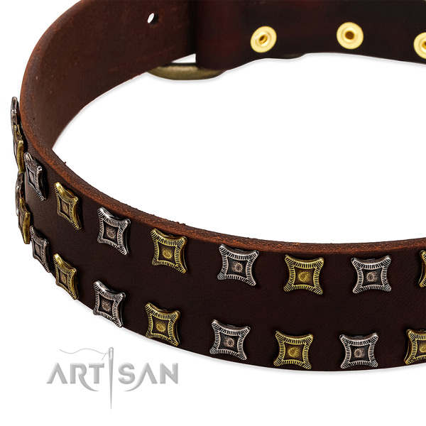 Best quality full grain genuine leather dog collar for your stylish canine