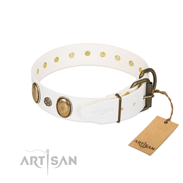 Daily use quality natural genuine leather dog collar