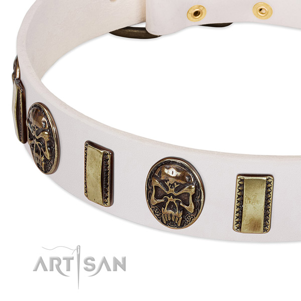 Strong hardware on genuine leather dog collar for your canine
