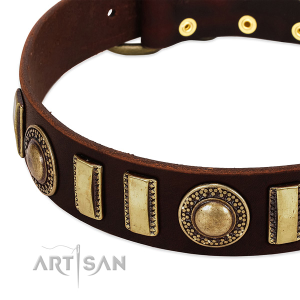 Gentle to touch full grain leather dog collar with corrosion resistant hardware
