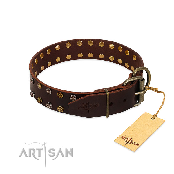 Comfy wearing full grain natural leather dog collar with amazing adornments