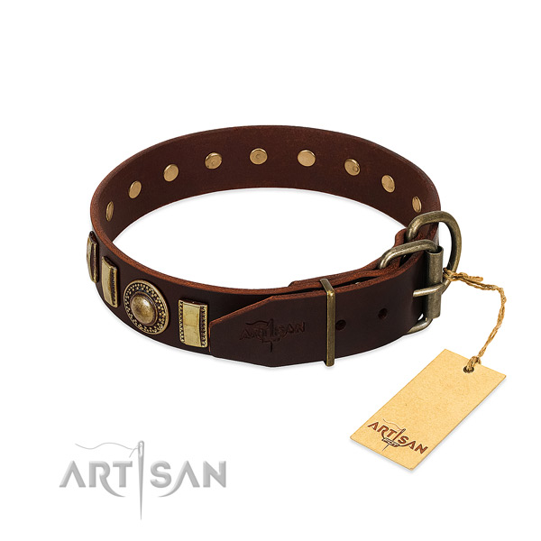 Durable full grain genuine leather dog collar with adornments