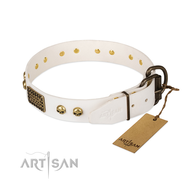 Easy adjustable full grain leather dog collar for everyday walking your pet