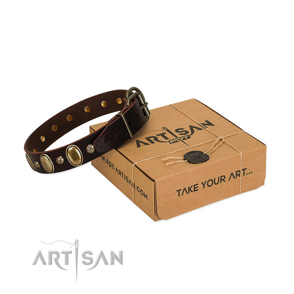Extraordinary leather dog collar with rust resistant D-ring