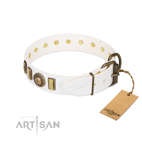Convenient full grain leather dog collar with corrosion resistant traditional buckle