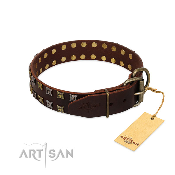 Flexible natural leather dog collar made for your dog