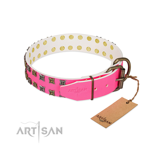Leather collar with exquisite decorations for your dog
