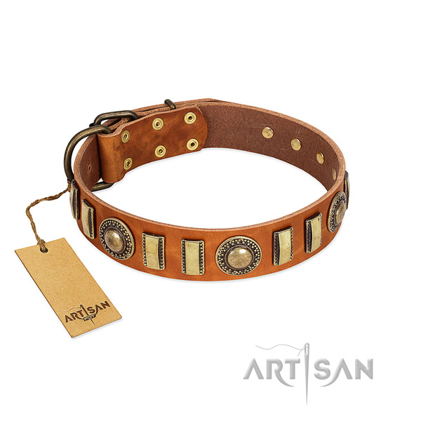 High quality natural leather dog collar with strong buckle