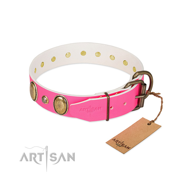 Comfortable wearing top notch leather dog collar