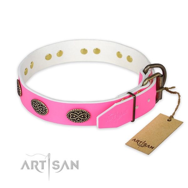 Everyday walking genuine leather collar with adornments for your doggie