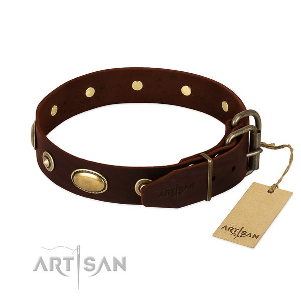 Corrosion resistant embellishments on genuine leather dog collar for your four-legged friend