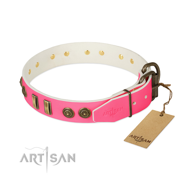 Rust-proof hardware on full grain leather dog collar for your four-legged friend
