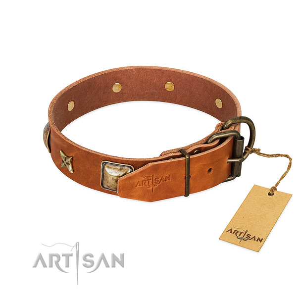 Full grain genuine leather dog collar with corrosion resistant traditional buckle and studs