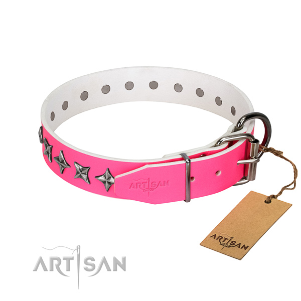 High quality leather dog collar with fashionable decorations
