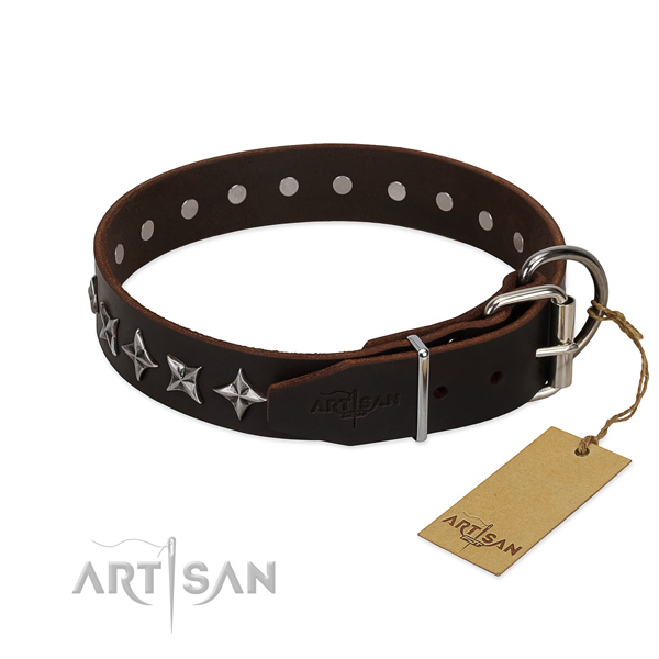Comfortable wearing decorated dog collar of top notch full grain natural leather