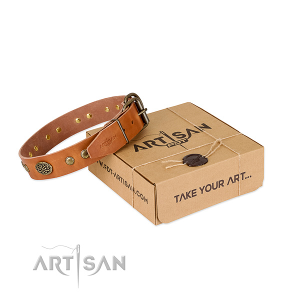 Rust-proof decorations on full grain genuine leather dog collar for your pet