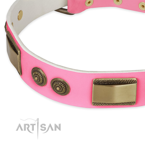 Full grain natural leather dog collar with decorations for everyday use