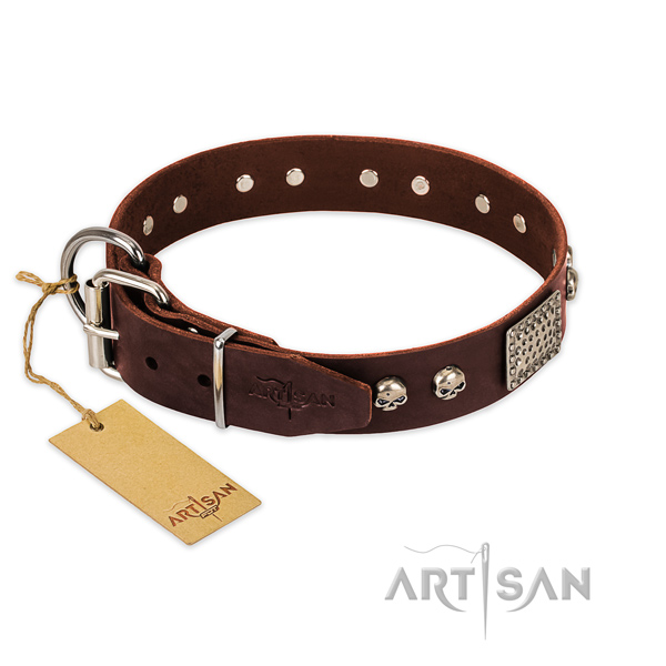 Strong studs on easy wearing dog collar
