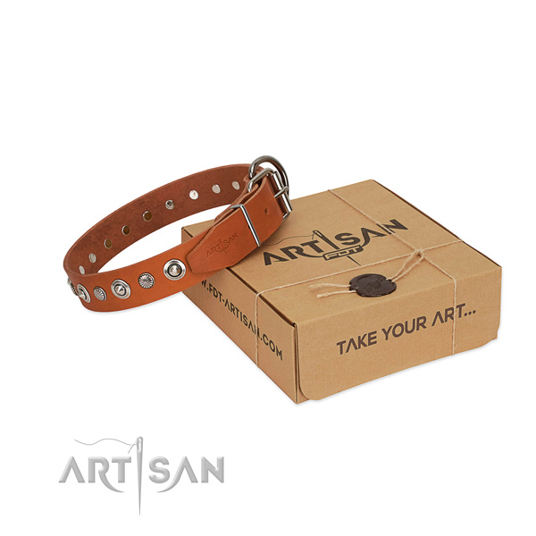 Top quality genuine leather dog collar with remarkable decorations