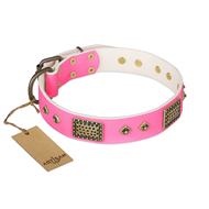 """Frenzy Candy"" FDT Artisan Decorated Pink Leather Rottweiler Collar"