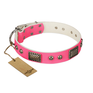 """Fashion Skulls"" FDT Artisan Pink Leather Rottweiler Collar with Old Silver Look Plates and Skulls"