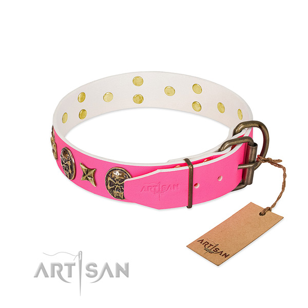 Strong fittings on natural genuine leather collar for walking your four-legged friend