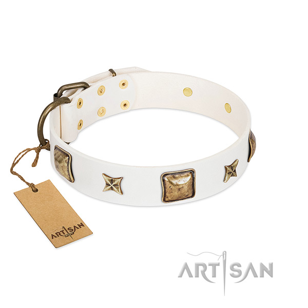 Best quality full grain leather collar for your four-legged friend
