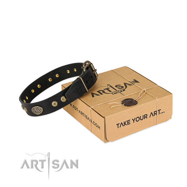 Reliable D-ring on full grain leather dog collar for your canine