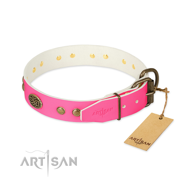 Rust-proof adornments on natural leather dog collar for your four-legged friend