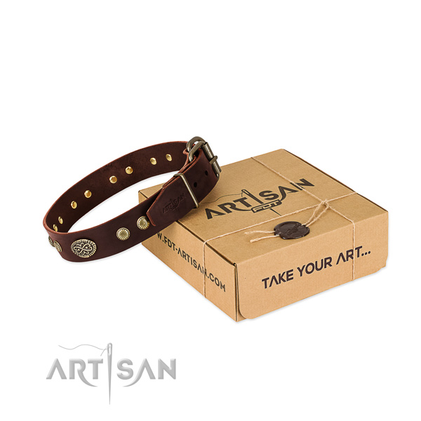Rust resistant embellishments on genuine leather dog collar for your dog