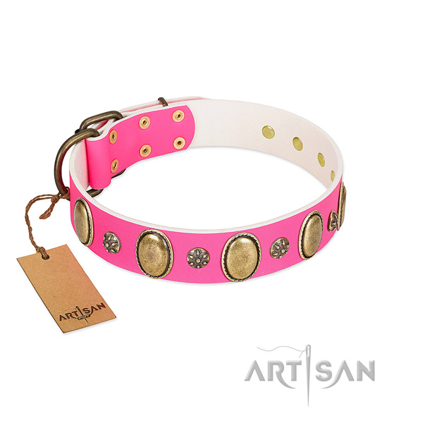 Handy use flexible genuine leather dog collar with adornments