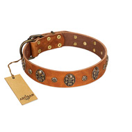 """Rockstar"" FDT Artisan Tan Leather Rottweiler Collar with Engraved Studs and Medallions"