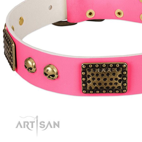 Rust resistant D-ring on full grain leather dog collar for your canine
