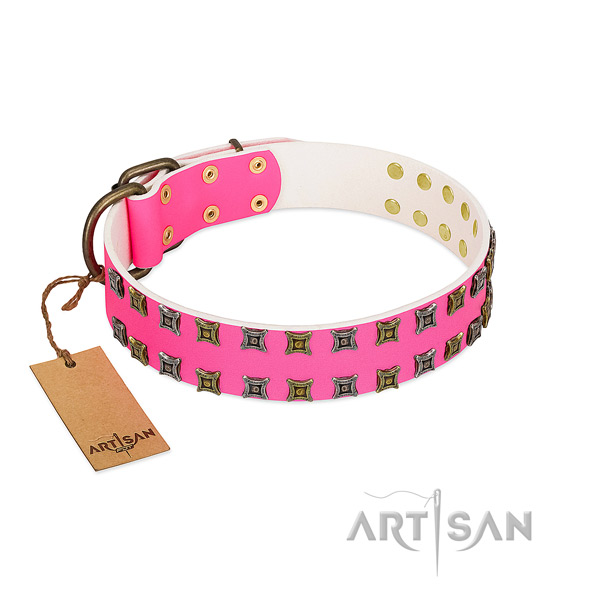 Full grain genuine leather collar with inimitable studs for your pet