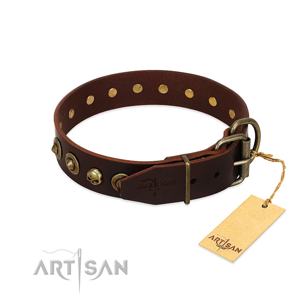 Full grain leather collar with unusual embellishments for your doggie