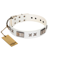 """Bling-Bling"" FDT Artisan White Leather Rottweiler Collar with Sparkling Stars and Plates"