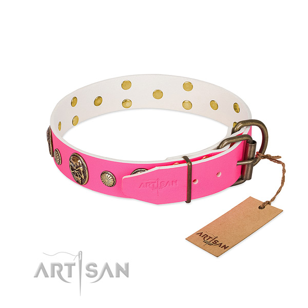 Rust-proof hardware on natural genuine leather dog collar for your canine