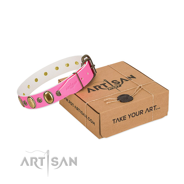 Comfy wearing soft to touch leather dog collar with adornments