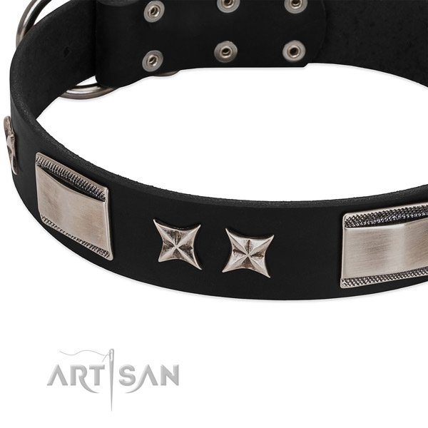 Top rate full grain genuine leather dog collar with rust-proof buckle