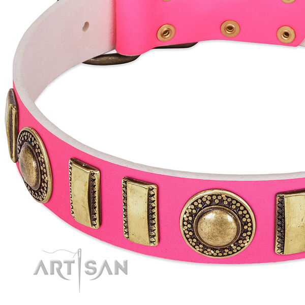 Soft full grain genuine leather dog collar for your lovely doggie
