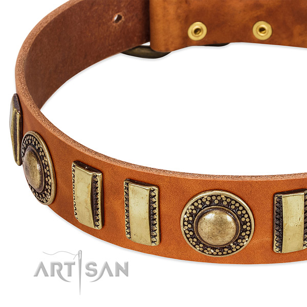 Best quality genuine leather dog collar with corrosion proof D-ring