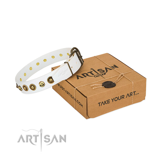 Full grain natural leather collar with designer decorations for your pet