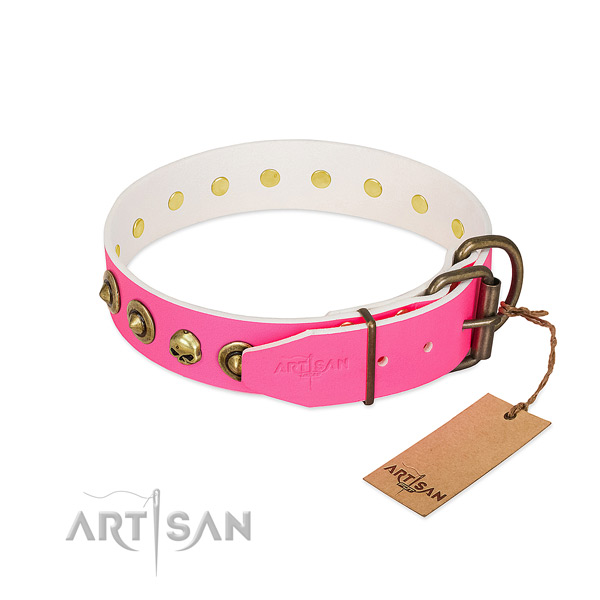 Full grain genuine leather collar with impressive studs for your pet