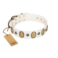 """Nifty Doodad"" FDT Artisan White Leather Rottweiler Collar with Amazing Large Ovals and Small Studs"