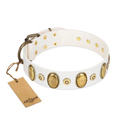 """Pearly Grace"" FDT Artisan White Leather Rottweiler Collar with Engraved Ovals and Small Dotted Studs"
