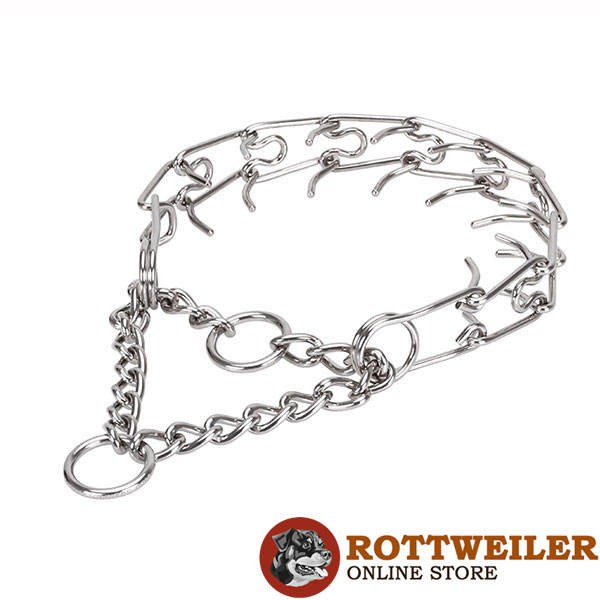 Prong collar of rust resistant stainless steel for badly behaved canines