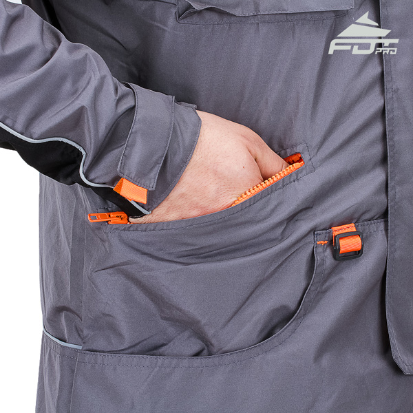 Grey Professional Design Dog Tracking Jacket with Comfy Side Pockets