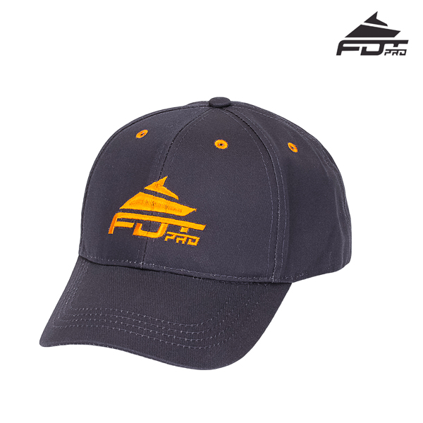 One-size Dark Grey Color Cap with Bright Orange Logo for Dog Walking