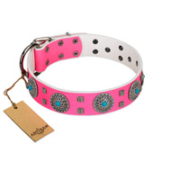 """Pink Delight"" FDT Artisan Pink Leather Rottweiler Collar for Everyday Walking"